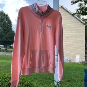 VS PINK Neon Coral Front Zip Pullover